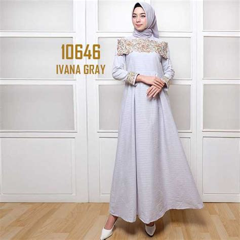 Set Minidress Ivana Baju Setelan model gamis katun kombi bordir ivana abu fg model baju