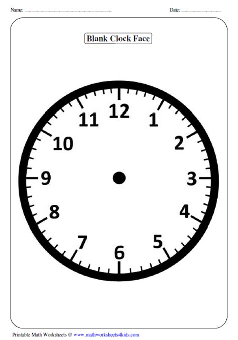 clock templates for telling time clock worksheets and charts