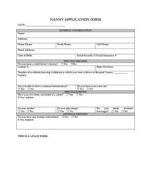 Applications Dfor Hiringa Nannies Fill Online Printable Fillable Blank Pdffiller Nanny Application Form Template