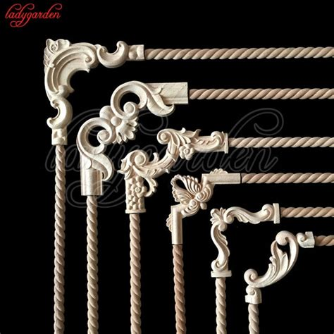 decorative wood appliques unpainted wood oak carved wave