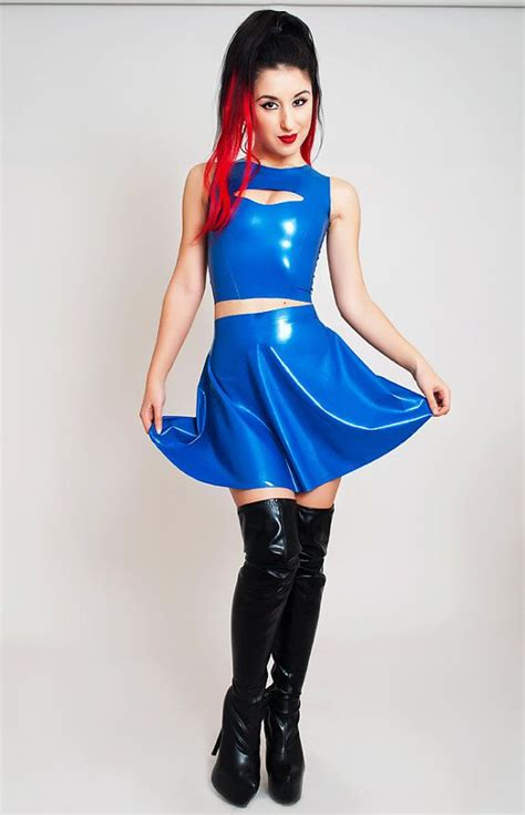 Rubber Flare Crop by Mini Flared Skirt Rubber Shiny By