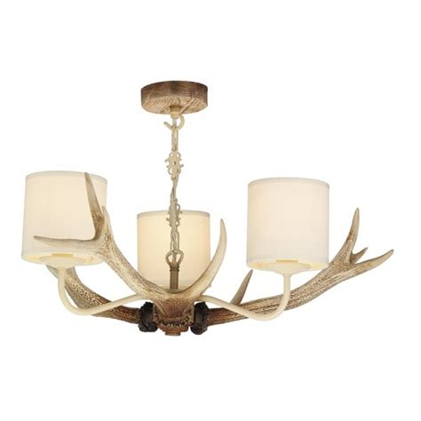 uk made replica stag antler ceiling pendant light with