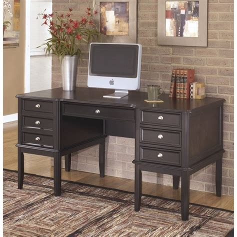 Ashley Carlyle Home Office Executive Desk In Almost Black Black Executive Office Desk