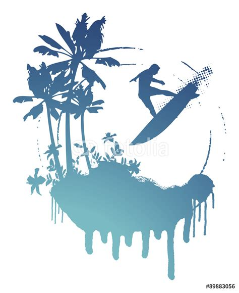Surfer Bedroom blue surf stencil scene palms and surfer jumping wall