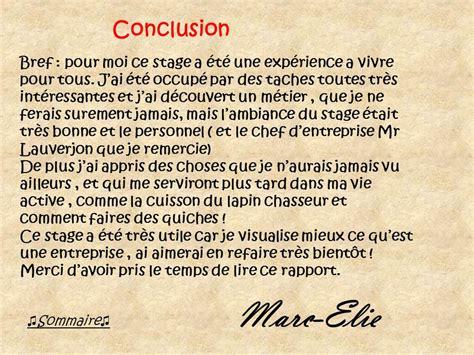 10 Conclusion D Un Rapport De Stage Faireune Lettre Remerciement Rapport De Stage Mod 232 Le