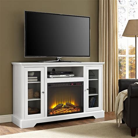 Walker Edison Furniture Company 52 In Highboy Fireplace White Fireplace Tv Stand