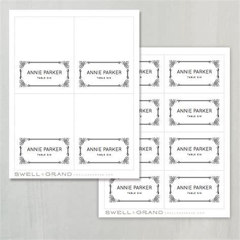 printable place card template instant download classic