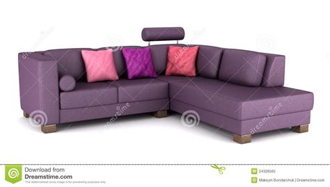 pillows on a leather couch modern purple leather couch with pillows isolated stock