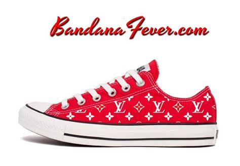 Converse Lv Supreme White custom supreme lv converse shoes low fashion style supremelv bandana fever