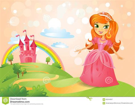 Fairy House Plans Fairy Tale Castle And Beautiful Princess Stock Vector