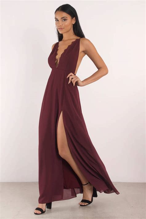 Dress Slit wine dress plunging neckline front slit dress