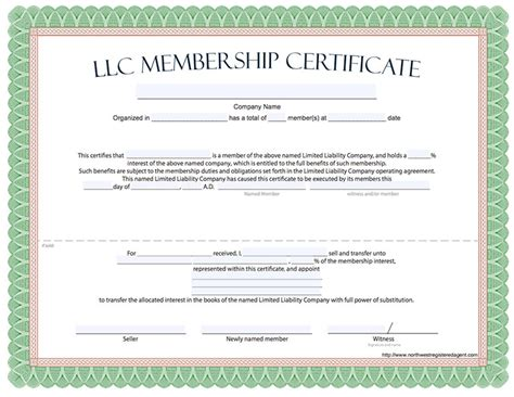 Llc Membership Certificate Template Word llc membership certificate free limited liability
