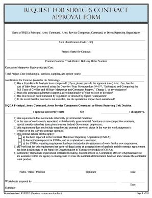 2012 form request for services contract approval form fill