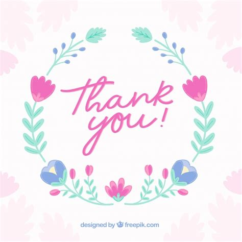 thank you background vintage thank you background with floral wreath vector