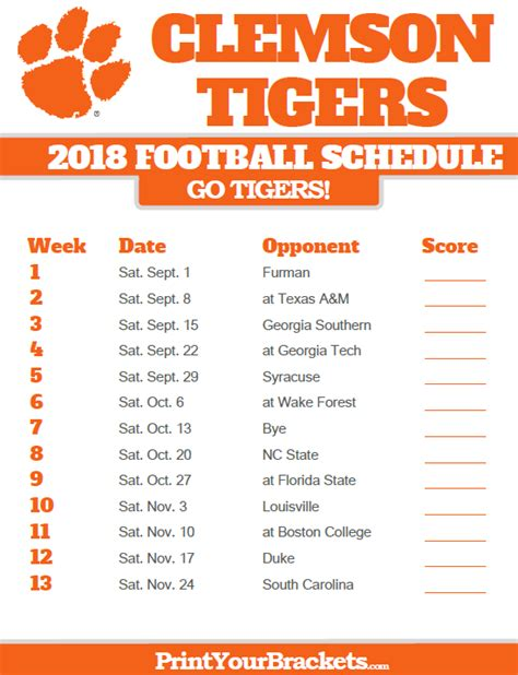 printable tigers schedule clemson tigers 2018 football schedule printable