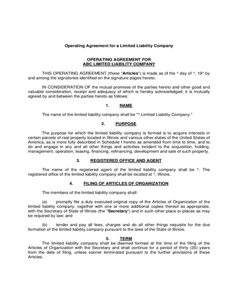 limited liability company agreement template operating agreement exle for llcs free