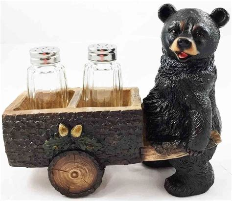 bear decorations for home black bear pushing wood cart salt and pepper shakers