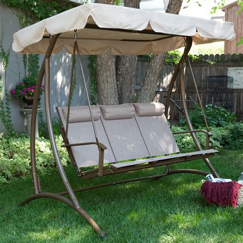 3 person outdoor swing with canopy porch swings for sale shop at hayneedle com