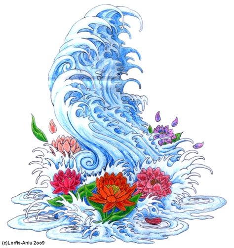 oriental waves tattoo designs japanese wave n lotto flowers by lorfis aniu on deviantart