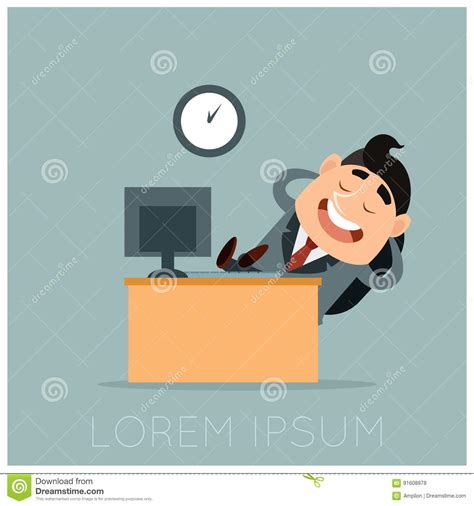 concept work business concept of a lazy worker at his work vector