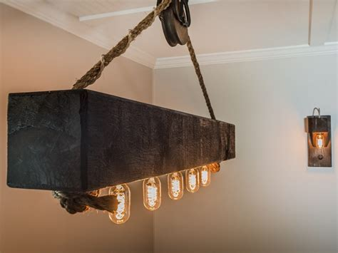 rustic beam light fixture rustic wood beam chandelier with edison bulbs and pulley
