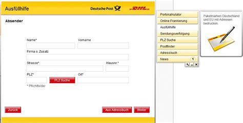 Packstation Adressaufkleber Drucken by Dhl Paket Verschicken Tracking Support