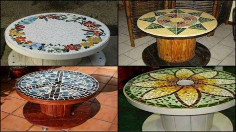 diy repurposed reel mosaic table  owner builder network