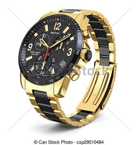 Jam Tangan Navi Black White stock illustration of swiss golden wrist mens