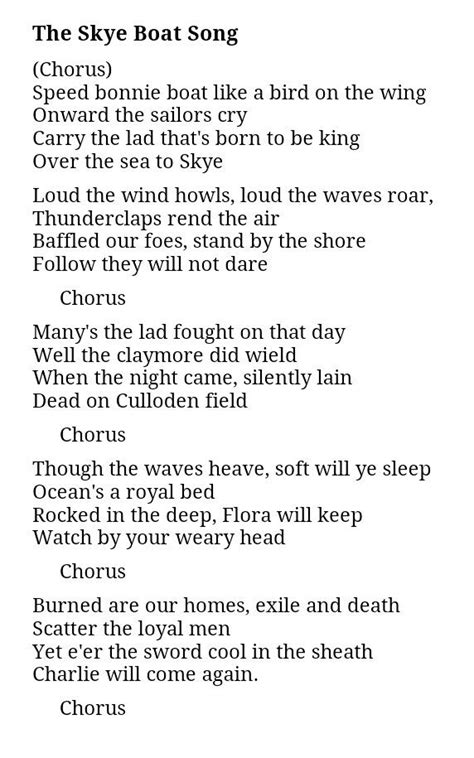 boat song lyrics outlander the skye boat song is the basis for the outlander theme