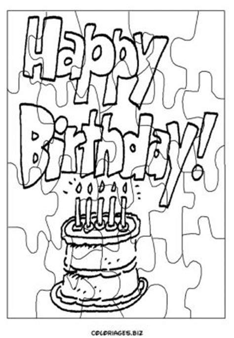 coloriage Découpage Puzzle anniversaire gratuit