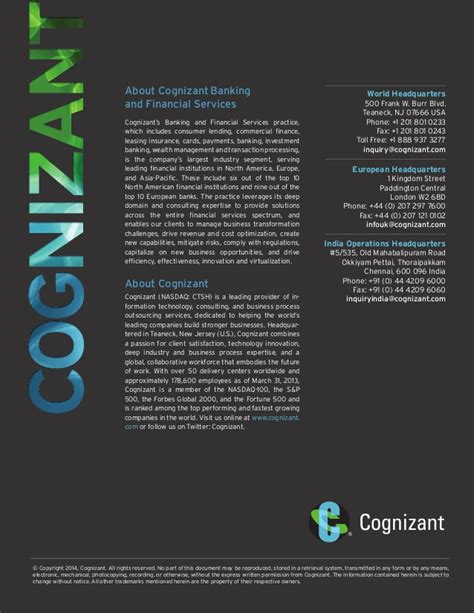 Cognizant Mba Program by For Effective Digital Banking Channels Put Customers