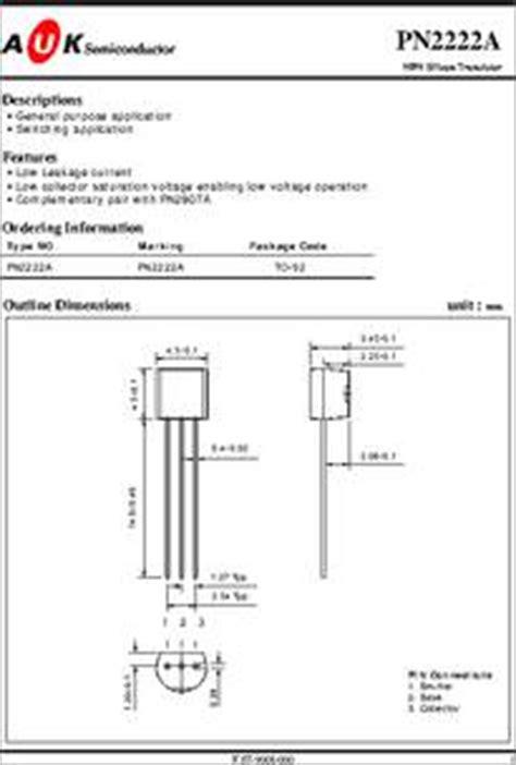 datasheet of transistor 2222a pn2222a datasheet small signal transistor high speed switching bipolar
