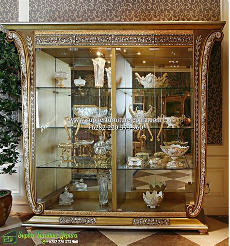 Gold Lemari Tv Hias almari hias mewah ukiran klasik jepara baroque golden