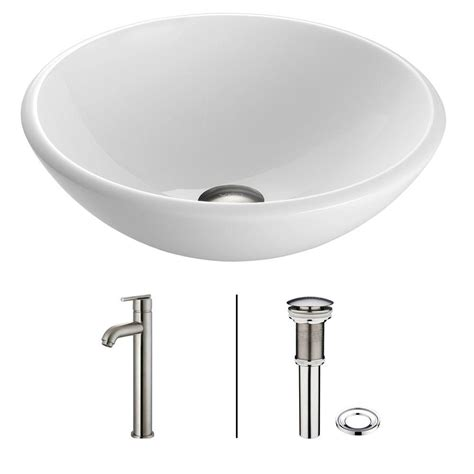 White Vessel Sink With Faucet by Vigo Glass Vessel Sink In White With Faucet
