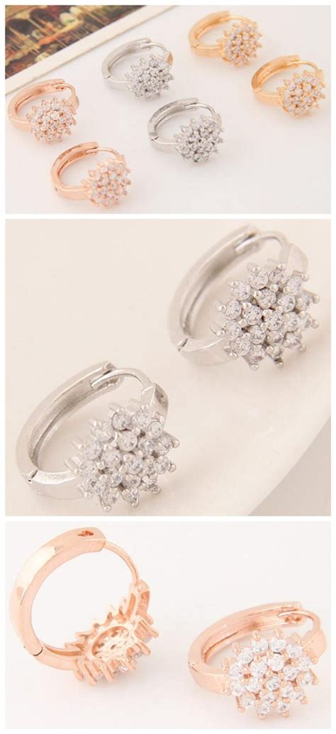 Anting Korea Sweet Flowers Resin Simple Earrings luxurious cubic zirconia sweet flower korean fashion ear golden