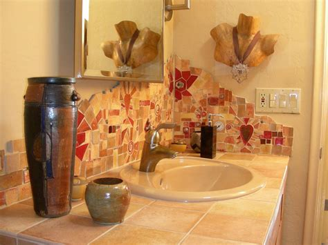 custom made made tile mosaic bathroom backsplash by