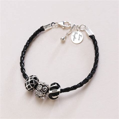cord and bead bracelet cord charm bead personalised bracelet with engraving