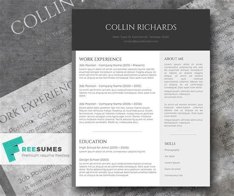 contemporary resume templates free word plain but trendy the free modern resume template freesumes