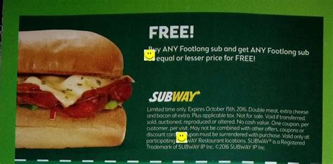 subway coupons printable canada 2016 subway canada coupon booklet expires oct 15 2016