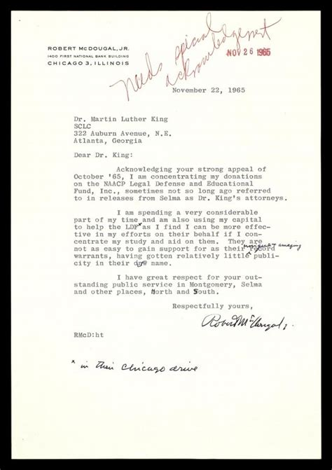 charity donation appeal letter letter from robert mcdougal jr to mlk regarding a