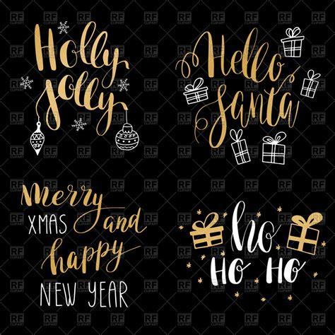 set  hand calligraphy jingle bells  santa holly jolly christmas merry christmas