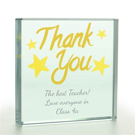 personalised thank you glass token