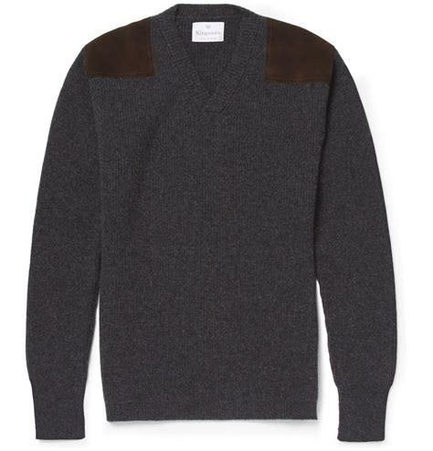 Jas Kingsman lyst kingsman geelong wool sweater with suede