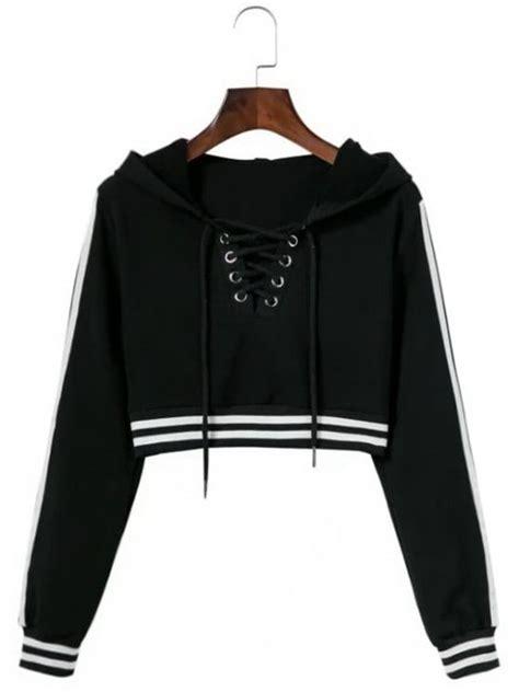 Jaket Crop Hodie Black striped cropped lace up hoodie black hoodies jackets s