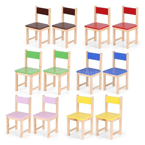 Childrens Dining Chair Set Of 2 Solid Children Activity Play Wooden Chairs Dining Chairs B6j9 Ebay