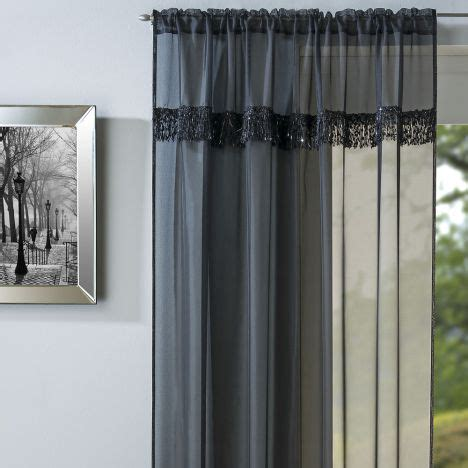 savannah curtains savannah voile curtain panel black slot top tonys