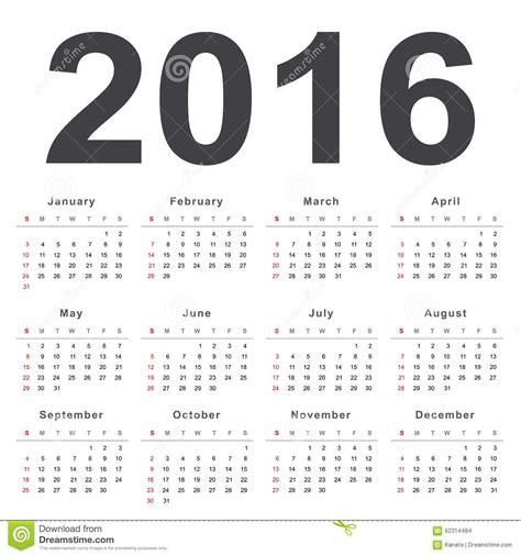 Kalender 2016 Wochen Kalender 2016 Woche F 228 Hrt Sonntag Ab Vektor Abbildung
