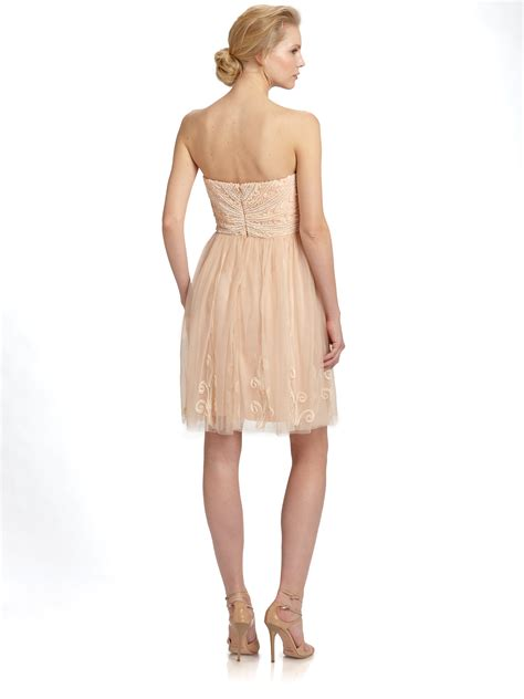 beaded blush dress lyst aidan mattox beaded mesh overlay dress in