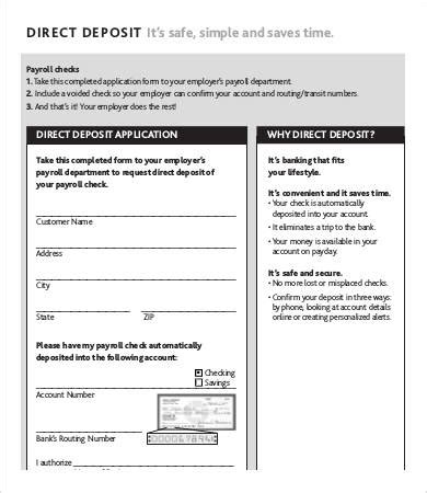 payroll direct deposit form template direct deposit form payroll direct deposit form template