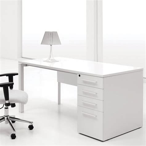Modern Desks White by Modern Cherry Home Office Computer Desk In White Finishing With Three Storage Drawers And Filing